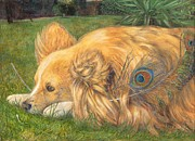 Dog Watercolor Framed Prints - Jealous Jessie Framed Print by Emily Hunt and William Holman Hunt