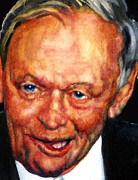 Celebrity Portrait Framed Prints - Jean Chretien Framed Print by Hanne Lore Koehler