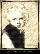 Harlow Drawings Framed Prints - Jean Harlow Framed Print by George Rossidis