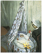 Impressionism Metal Prints - Jean Monet in his Cradle Metal Print by Claude Monet