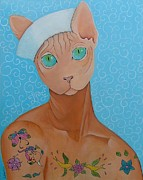 Sphynx Cat Paintings - Jean-Paul by Sophie Hove