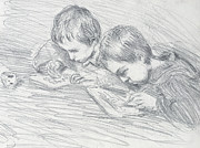 Children Prints Drawings - Jean Pierre Hoschede and Michel Monet by Claude Monet