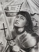 Religious Drawings - Jeanne d Arc by Amber Stanford