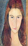 Visage Framed Prints - Jeanne Hebuterne Framed Print by Amedeo Modigliani