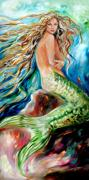 Underwater Diva Paintings - Jeanne le Mer by Linda Olsen