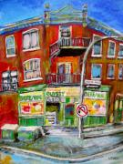 1900 Architecture Paintings - Jeanne Mance Corners by Michael Litvack