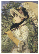 Fine Art  Of Women Paintings - Jeanne Spring by Edouard Manet