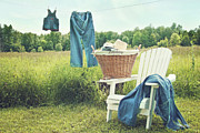 Laundered Posters - Jeans hanging on clothesline on a summer afternoon Poster by Sandra Cunningham