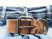 Leather Belt Framed Prints - Jeans with Leather Belt Framed Print by Wim Lanclus