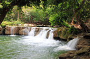 Water Flowing Pyrography Prints - Jed Sao Noi Waterfall at THAILAND Print by Thanapol Kuptanisakorn