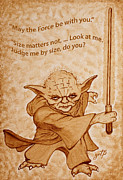 Yoda Prints - Jedi Yoda Quotes original beer painting Print by Georgeta Blanaru