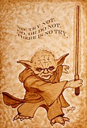 Star Digital Art Framed Prints - Jedi Yoda Wisdom Framed Print by Georgeta  Blanaru