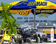 Boys And Girls Posters - Jeep Beach 2013 Welcomes All Jeepers Poster by DigiArt Diaries by Vicky Browning