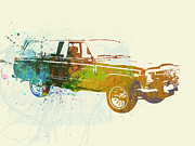 Watercolor Photo Metal Prints - Jeep Wagoneer Metal Print by Irina  March