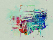Vintage Car Drawings Posters - Jeep Willis Poster by Irina  March