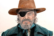 John Wayne Mixed Media - Jeff Bridges as U.S. Marshal Rooster Cogburn in True Grit  by Jim Fitzpatrick