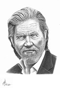 Pencil Drawing Posters - Jeff Bridges Poster by Murphy Elliott