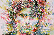 Singer Paintings - Jeff Buckley Watercolor Portrait.1 by Fabrizio Cassetta