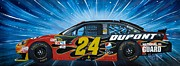 Nascar Paintings - Jeff Gordon Nascar by Alex Izatt