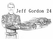Sprint Cup Digital Art Posters - Jeff Gordon Poster by Nick Bergstrom