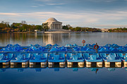 Tidal Photographs Framed Prints - Jefferson Memorial and Paddle Boats Framed Print by Jerry Fornarotto