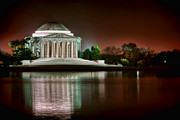 Lake Washington Posters - Jefferson Memorial at Night Poster by Olivier Le Queinec