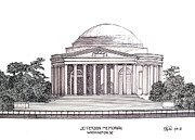 Buildings Drawings Drawings Framed Prints - Jefferson Memorial Framed Print by Frederic Kohli