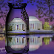 Us Capital Framed Prints - Jefferson Memorial In A Bottle Framed Print by Susan Candelario