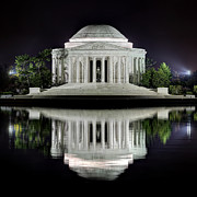Illuminated Posters - Jefferson Memorial - Night Reflection Poster by Metro DC Photography
