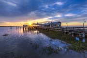 Park Dock Prints - Jekyll Island Sunset Print by Debra and Dave Vanderlaan