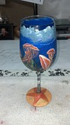 Ocean Animals Glass Art Originals - Jellies on wine glass by Dan Olszewski