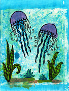 Batik Tapestries - Textiles Posters - Jellies Poster by Toni McCullough