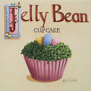 Folk Art Posters - Jelly Bean Cupcake Poster by Catherine Holman
