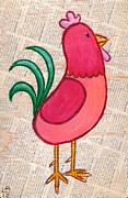 Rural Living Drawings Posters - Jellybean Rooster Poster by Lucas T Antoniak
