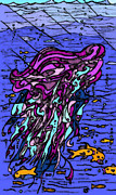 Jellyfish Drawings Framed Prints - Jellyfish Framed Print by Dylan Seibold