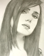 Pencil Artwork Drawings Prints - Jeniffer Print by Ted Castor