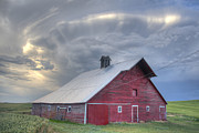 Barn Storm Framed Prints - Jenkins Red Barn Framed Print by Keith Marsh
