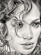 Actress Digital Art Posters - Jennifer Lopez Poster by Byron Fli Walker