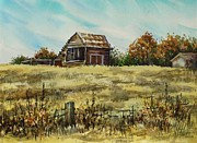 Old Barn Paintings - Jennings Barn by Lynne Haines