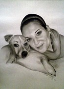 Photo Drawings - Jenny and Lenny by Andrea Binkley