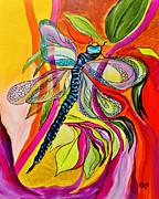 Photo Real Paintings - Jennys Dragonfly in Acrylic by Janice Rae Pariza
