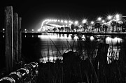Wibada Photo Prints - Jensen Causeway From N W Side B W Print by Lynda Dawson-Youngclaus