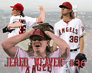 Baseball Drawings Framed Prints - Jered Weaver Framed Print by Israel Torres