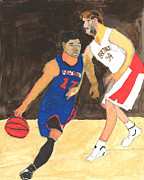 Knicks Painting Prints - Jeremy Lynn the amazing Print by Nat Solomon