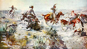 Western Art Digital Art Posters - Jerked Down Poster by Charles Russell