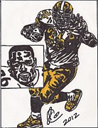 Pittsburgh Steelers Drawings Posters - Jerome Bettis Poster by Jeremiah Colley