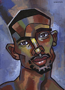 African American Male Painting Posters - Jerome Has a Good Thought Poster by Douglas Simonson