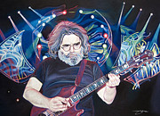 Musician Drawings Originals - Jerry Garcia and Lights by Joshua Morton