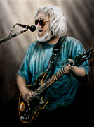 Jerry Garcia Band Prints - Jerry Garcia by Edward Pollick Print by Edward Pollick