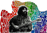 Music Mixed Media Prints - Jerry Garcia Print by Callie Fink